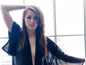 Caitlin McSwain see-through blouse, long hair, babe