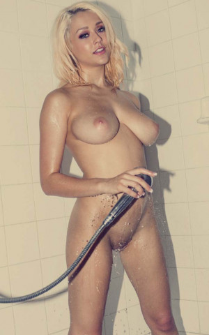 Sabrina Nichole naked, blonde babe, wet, big tits, shaved